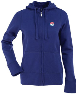 Texas Rangers Womens Zip Front Hoody Sweatshirt (Team Color: Royal) - Small