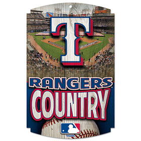 Texas Rangers Wood Sign