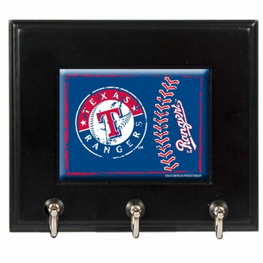 Texas Rangers Wooden Keyhook Rack