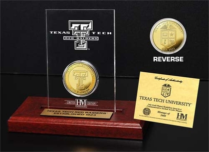 Texas Tech Red Raiders Texas Tech University 24KT Gold Coin Etched Acrylic