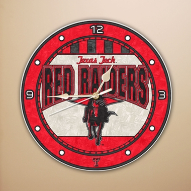 Texas Tech Art Glass Clock
