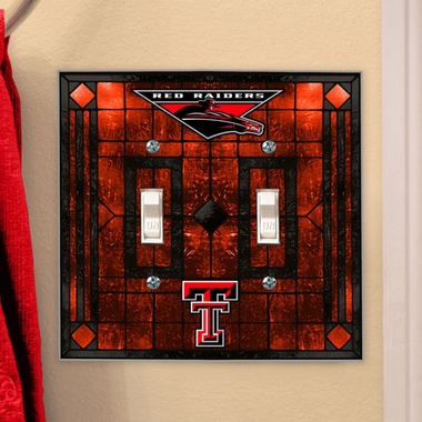 Texas Tech Art Glass Lightswitch Cover (Double)
