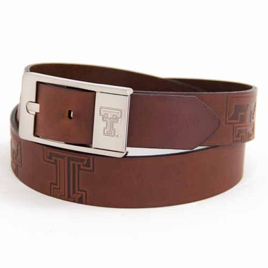 Texas Tech Brown Leather Brandished Belt