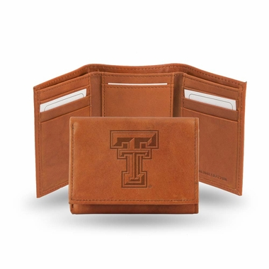 Texas Tech Embossed Leather Trifold Wallet