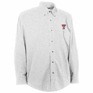 Texas Tech Mens Esteem Check Pattern Button Down Dress Shirt (Color: White) - Small