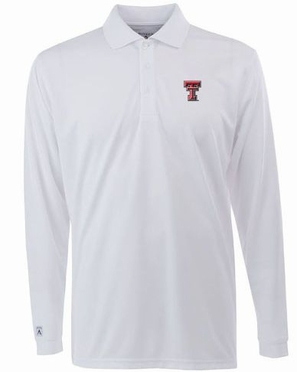 Texas Tech Mens Long Sleeve Polo Shirt (Color: White)