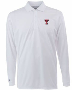 Texas Tech Mens Long Sleeve Polo Shirt (Color: White) - Medium