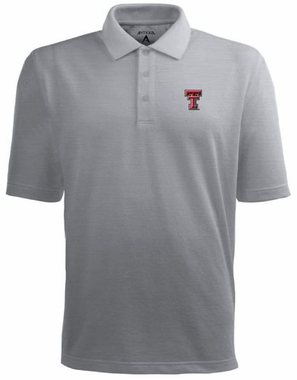 Texas Tech Mens Pique Xtra Lite Polo Shirt (Color: Gray)