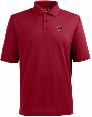 Texas Tech Mens Pique Xtra Lite Polo Shirt (Color: Red)