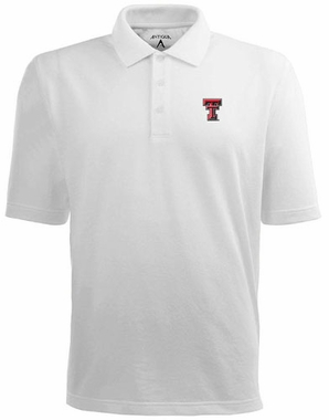 Texas Tech Mens Pique Xtra Lite Polo Shirt (Color: White)