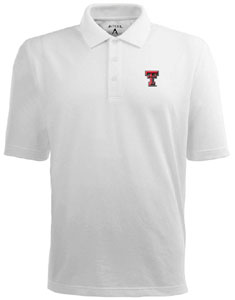 Texas Tech Mens Pique Xtra Lite Polo Shirt (Color: White) - Large