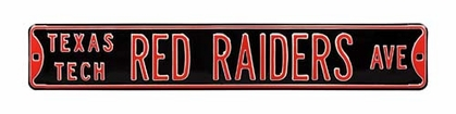 Texas Tech Red Raiders Ave Black Street Sign