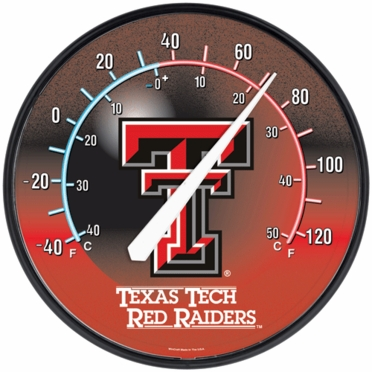 Texas Tech Round Wall Thermometer