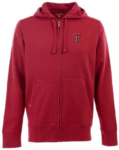 Texas Tech Mens Signature Full Zip Hooded Sweatshirt (Color: Red) - Large