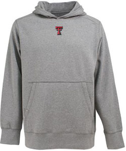 Texas Tech Mens Signature Hooded Sweatshirt (Color: Gray) - Small