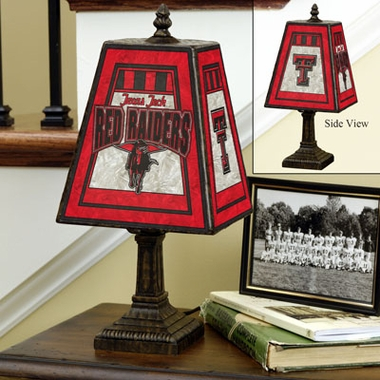 Texas Tech Small Art Glass Lamp