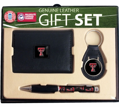 Texas Tech Trifold Wallet Key Fob and Pen Gift Set