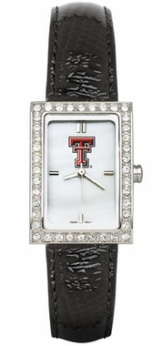 Texas Tech Women's Black Leather Strap Allure Watch