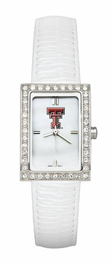 Texas Tech Women's White Leather Strap Allure Watch