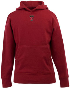 Texas Tech YOUTH Boys Signature Hooded Sweatshirt (Team Color: Red) - Medium