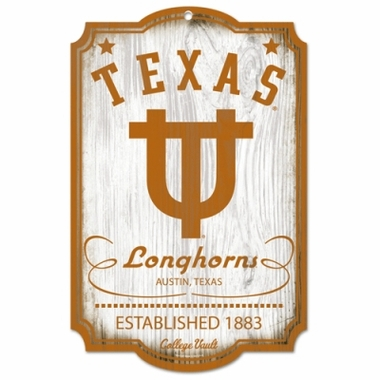 "Texas Longhorns Wood Sign - College Vault - 11"" x 17"""