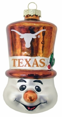 Texas Tophat Snowman Glass Ornament
