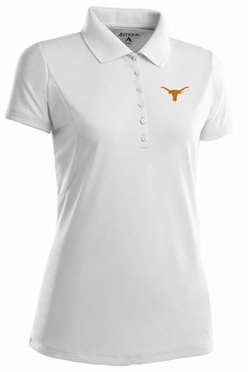 Texas Womens Pique Xtra Lite Polo Shirt (Color: White)
