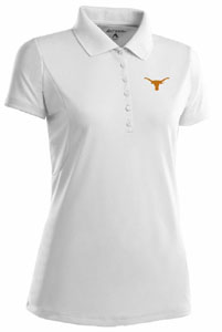 Texas Womens Pique Xtra Lite Polo Shirt (Color: White) - Small