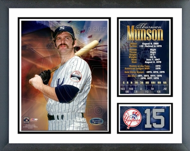 Thurman Munson - #15, Number Retired in 1979 - Framed Milestones & Memories