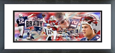 Tom Brady - Framed / Double Matted Photoramic