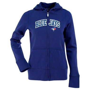 Toronto Blue Jays Applique Womens Zip Front Hoody Sweatshirt (Team Color: Royal)
