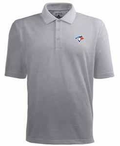 Toronto Blue Jays Mens Pique Xtra Lite Polo Shirt (Color: Gray) - X-Large