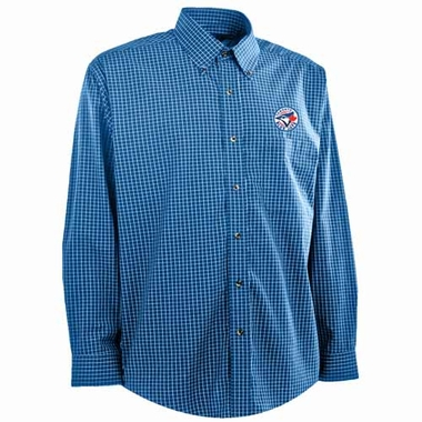 Toronto Blue Jays Mens Esteem Check Pattern Button Down Dress Shirt (Team Color: Royal)