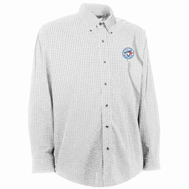 Toronto Blue Jays Mens Esteem Check Pattern Button Down Dress Shirt (Color: White)