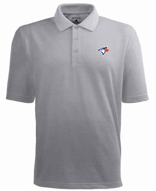 Toronto Blue Jays Mens Pique Xtra Lite Polo Shirt (Color: Gray)