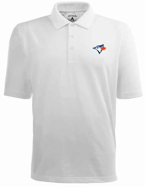 Toronto Blue Jays Mens Pique Xtra Lite Polo Shirt (Color: White)