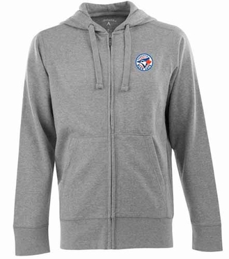 Toronto Blue Jays Mens Signature Full Zip Hooded Sweatshirt (Color: Gray)