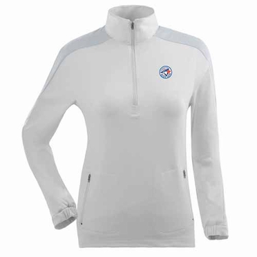 Toronto Blue Jays Womens Succeed 1/4 Zip Performance Pullover (Color: White)