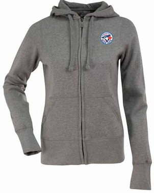 Toronto Blue Jays Womens Zip Front Hoody Sweatshirt (Color: Gray)