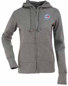 Toronto Blue Jays Womens Zip Front Hoody Sweatshirt (Color: Gray) - X-Large