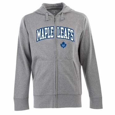 Toronto Maple Leafs Mens Applique Full Zip Hooded Sweatshirt (Color: Gray)