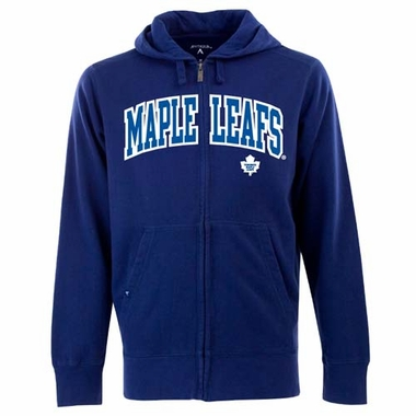 Toronto Maple Leafs Mens Applique Full Zip Hooded Sweatshirt (Team Color: Royal)