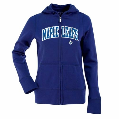 Toronto Maple Leafs Applique Womens Zip Front Hoody Sweatshirt (Team Color: Royal)