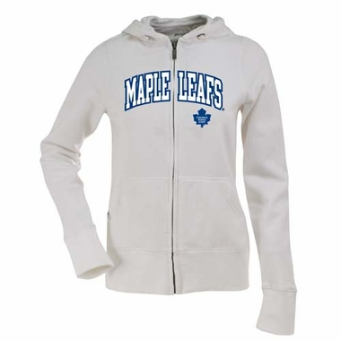 Toronto Maple Leafs Applique Womens Zip Front Hoody Sweatshirt (Color: White)