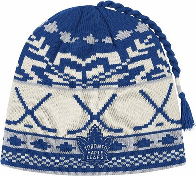 Toronto Maple Leafs Jacquard Pattern Hocky Stick Tassel Cuffless Knit Hat