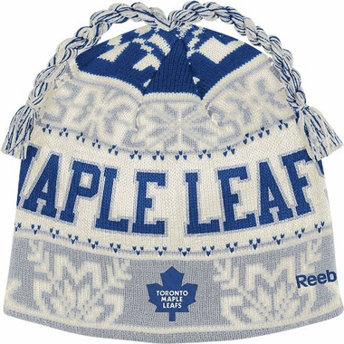 Toronto Maple Leafs Snowflake Pattern Tassel Knit Hat