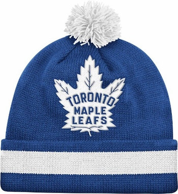 Toronto Maple Leafs Vintage Jersey Stripe Cuffed Knit Hat w/ Pom