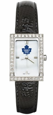 Toronto Maple Leafs Women's Black Leather Strap Allure Watch