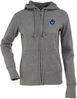 Toronto Maple Leafs Womens Zip Front Hoody Sweatshirt (Color: Gray)