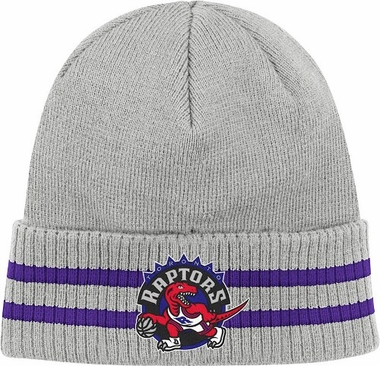 Toronto Raptors Mitchell & Ness NBA Vintage Stockey Stripe Cuffed Knit Hat